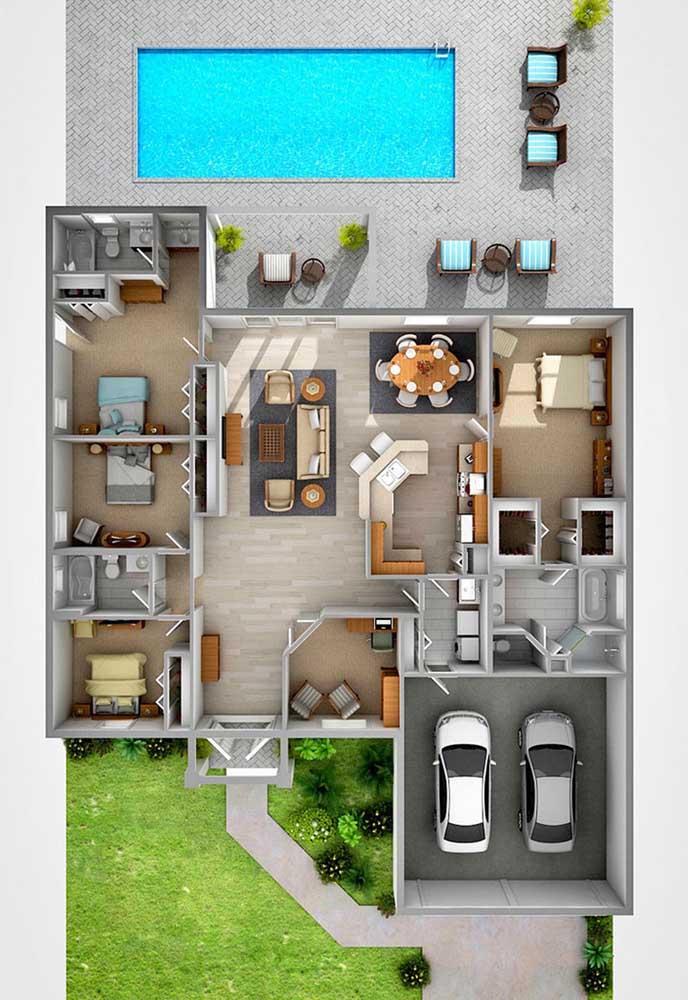 Essa inspiração de projeto traz uma casa moderna com piscina, três quartos e suíte máster, além do hall e da garagem interna