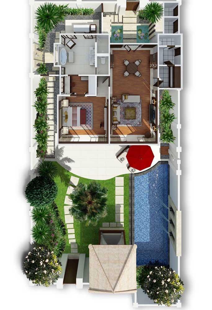 Planta de casa moderna pequena, com piscina, espaço gourmet, uma suíte e salas integradas