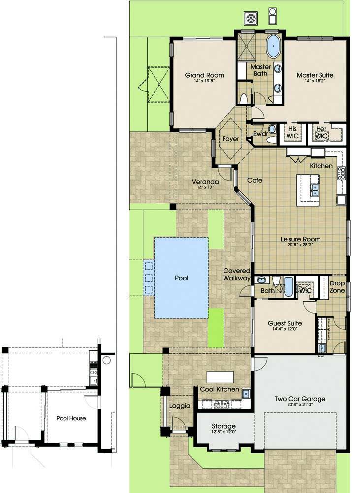 Planta baixa de casa moderna com casa da piscina, garagem interna, suíte máster, cozinha integrada e dois quartos