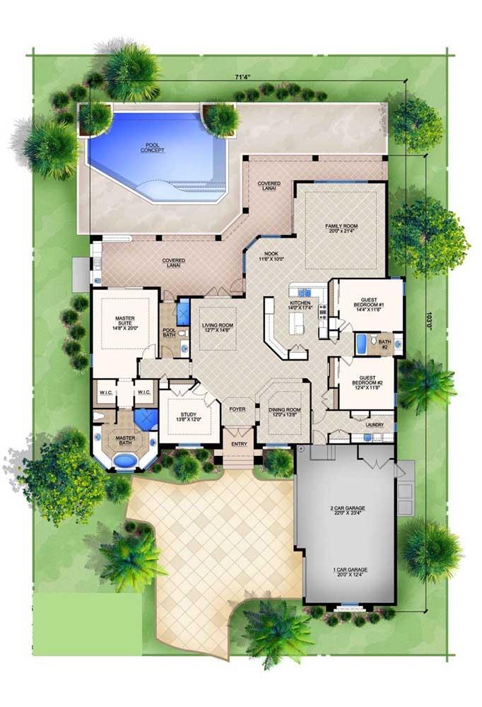 Projeto de casa moderna com garagem interna, ambientes em conceito aberto, fachada ampla e piscina