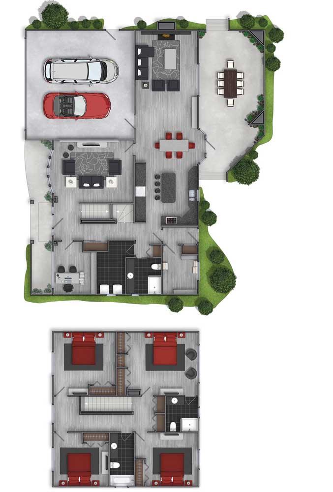 O projeto moderno trouxe uma planta em sobrado, com quatro quartos, garagem e varanda ampla