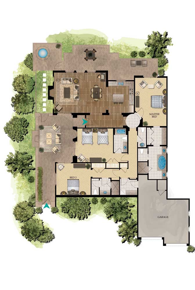 Mais uma inspiração de casa moderna com ambientes em conceito aberto, espaço gourmet, suíte máster, garagem interna e dois quartos
