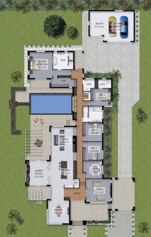 O diferencial desse projeto de casa moderna ficou por conta da garagem ao fundo do terreno; a casa conta ainda com três quartos, além da suíte máster