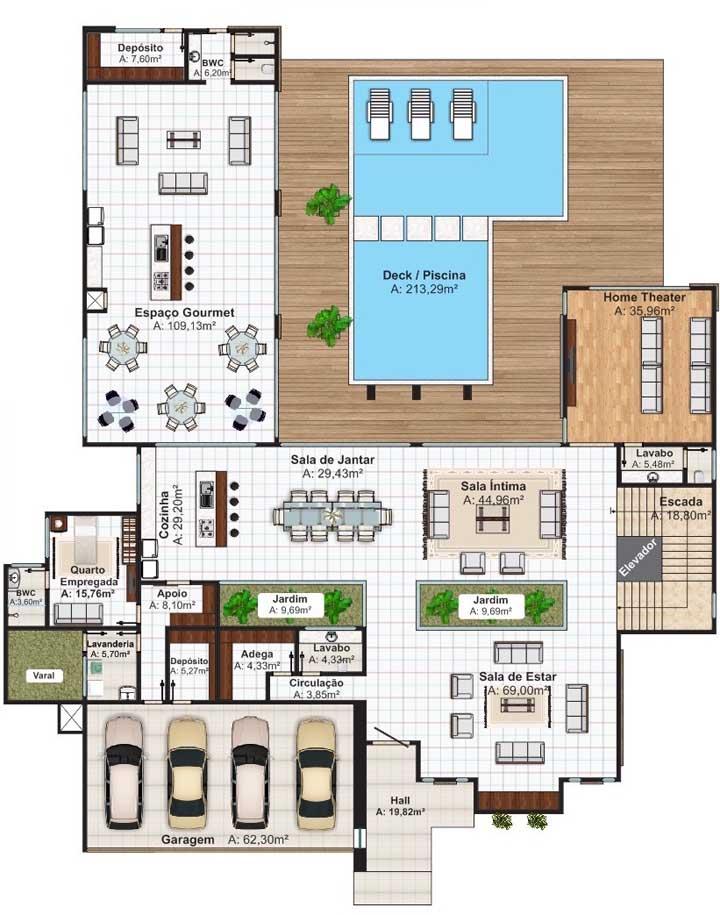 O projeto dessa casa moderna ganhou um deck molhado na piscina, além de espaço gourmet amplo e sala de jantar integrada à cozinha