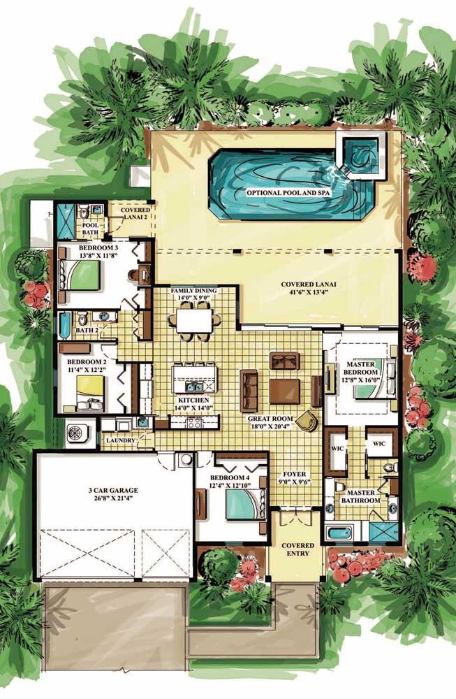 Planta de casa moderna com três quartos e suíte máster, piscina e cozinha integrada