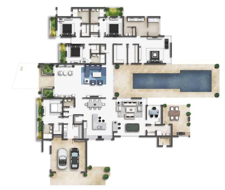 Casa moderna com garagem, hall de entrada, salas integradas e três quartos