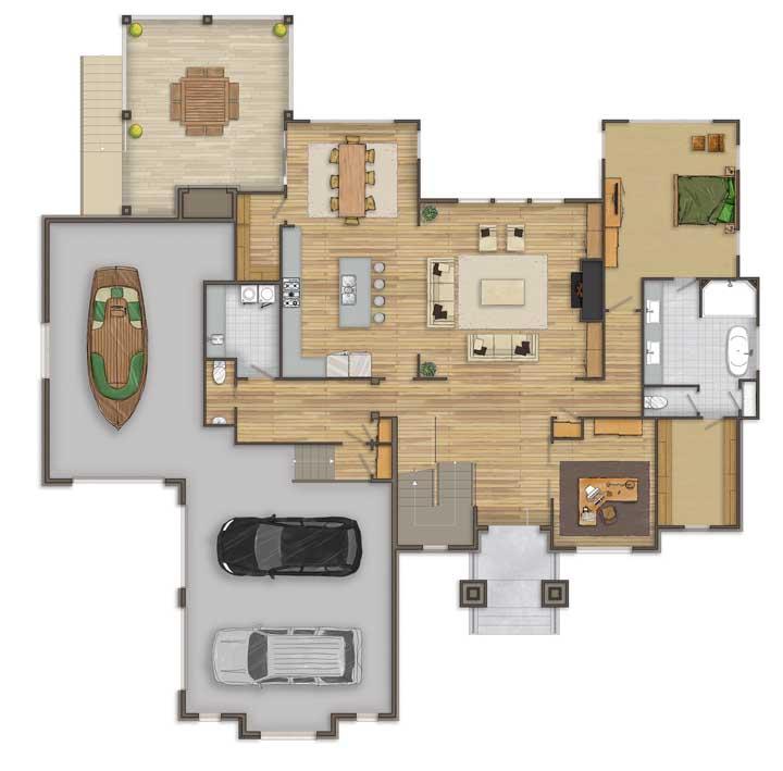 Já esse projeto da casa moderna ganhou uma garagem para barcos, cozinha integrada, suíte máster e escritório