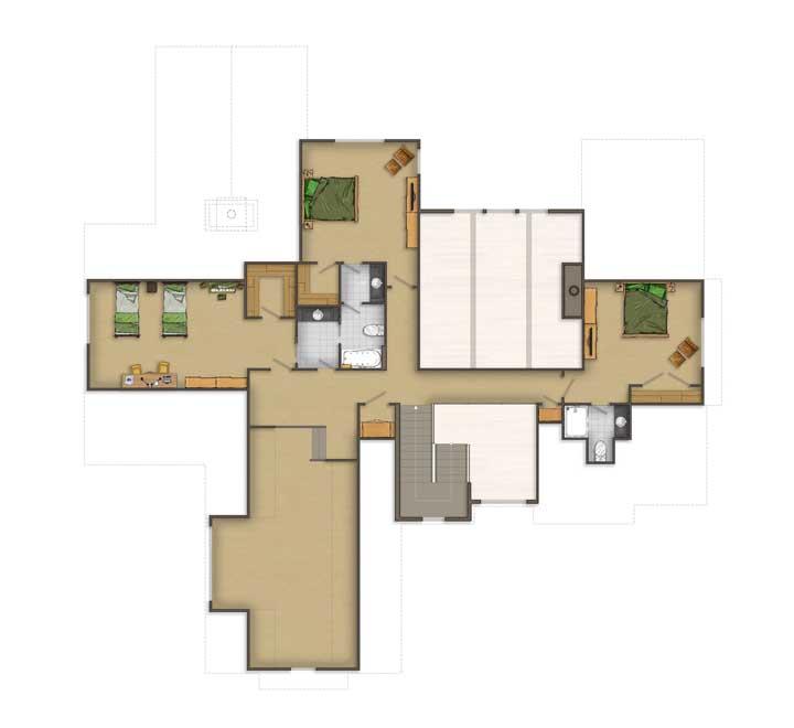 Planta de casa moderna simples, com três quartos e hall de entrada com pé direito duplo
