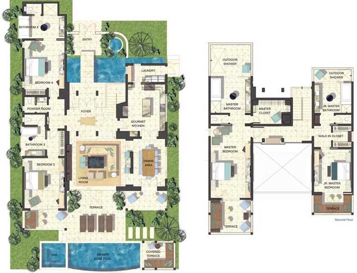 Uma inspiração para quem dispõe de muito espaço para a construção da casa: esse sobrado conta com quatro quartos, além da suíte máster, piscina e espaço gourmet