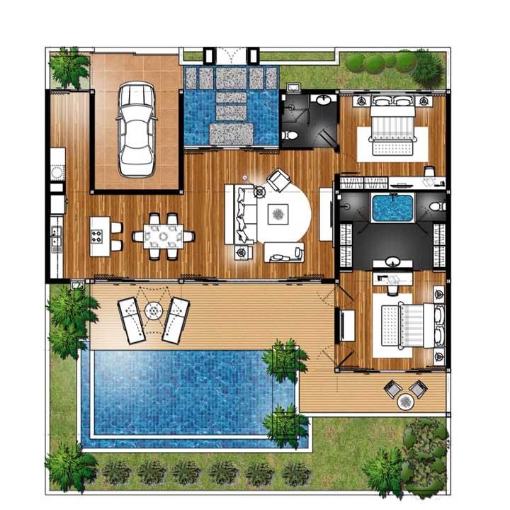Planta de casa moderna com piscina e hall de entrada com lago artificial