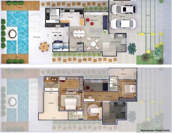 Sobrado com hall de entrada, piscina, espaço gourmet, suíte máster e dois quartos