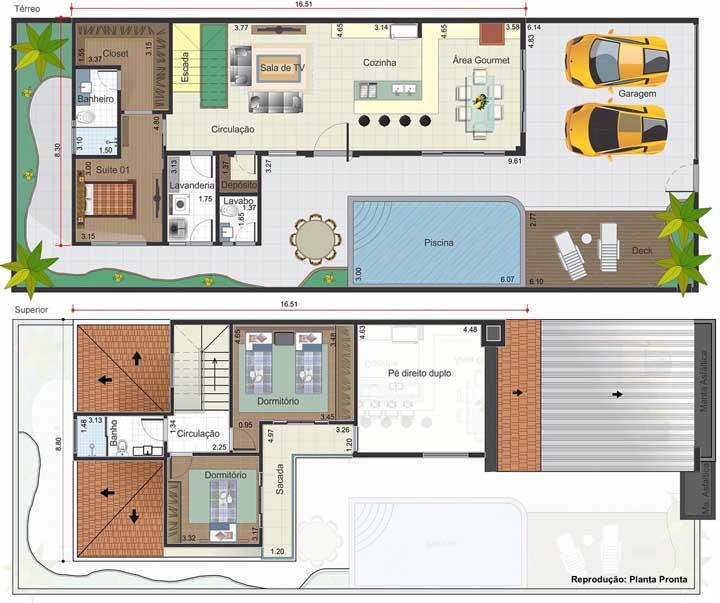 Projeto de casa moderna com piscina, dois quartos no segundo andar e cozinha aberta; destaque para o pé direito duplo