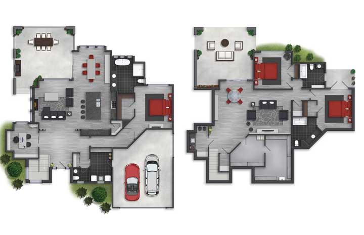 Planta de casa com dois pavimentos, garagem interna e três quartos