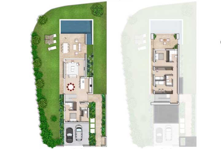 Projeto de casa moderna com piscina espaço gourmet e três quartos