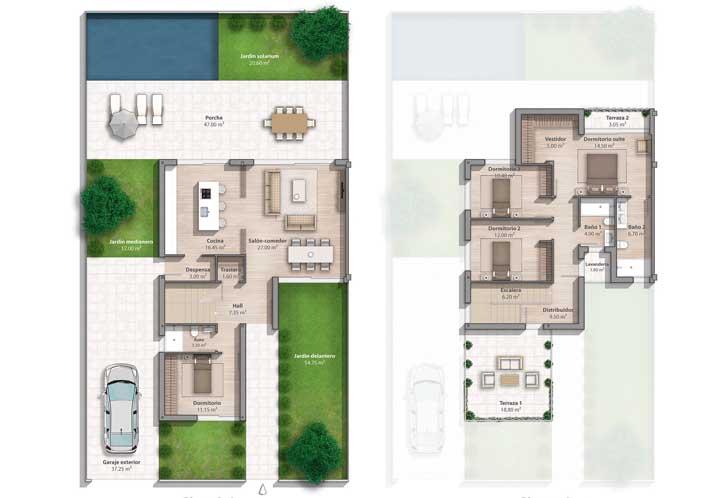 Planta de casa moderna com dois quartos, suíte máster e piscina