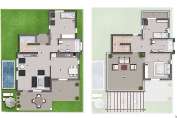Projeto moderno com piscina e três quartos