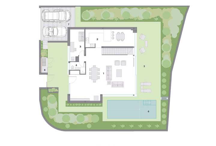 Planta baixa de casa moderna dividida em três pavimentos; o primeiro conta com garagem, piscina e salas integradas