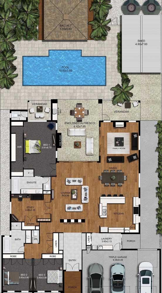 Planta de casa moderna com garagem interna, piscina, espaço gourmet, suíte com closet e cômodos integrados