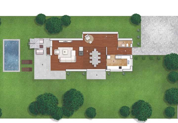 Projeto de casa moderna com piscina e ambientes integrados