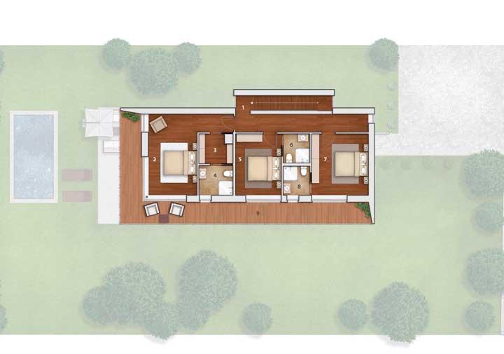 No segundo andar da casa ficam os três quartos e a varanda