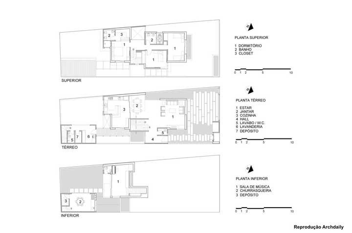 Uma inspiração de planta de casa moderna com subsolo, térreo e andar superior; perceba que o projeto é adaptado para atender as necessidades exclusivas dos moradores, como a sala de música e os dois depósitos