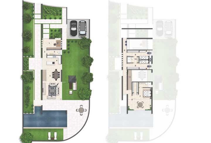 Planta de casa moderna com vista para os dois pavimentos