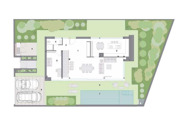 Projeto de casa moderna com piscina, garagem e salas integradas