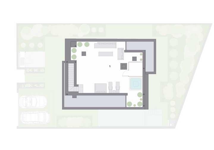 E por último, um terraço, com living e banheira de hidromassagem