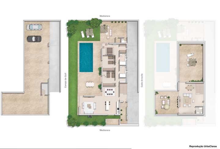 Já essa outra planta conta com piscina, espaço gourmet, terraço e até campo de golf
