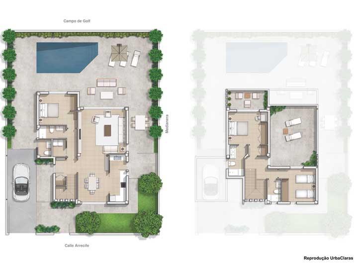 Nesse projeto, por sua vez, podemos notar a piscina e um quarto no térreo, enquanto o segundo andar traz mais um quarto e uma suíte máster com varanda privativa