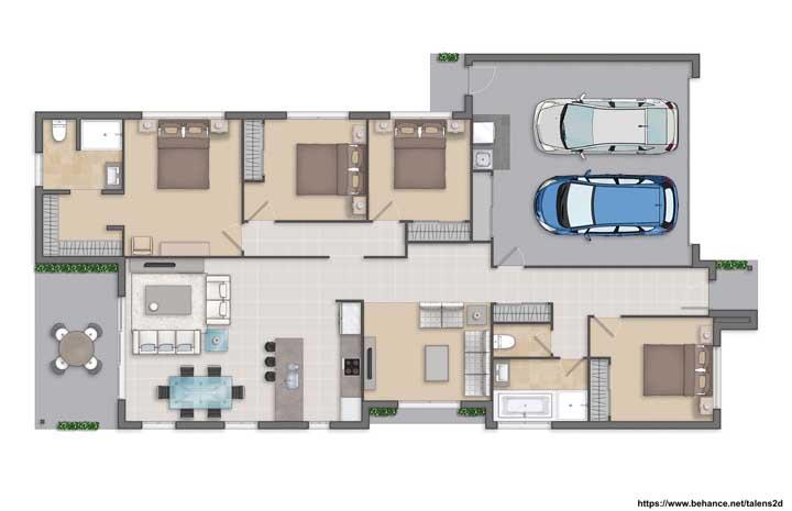 Planta de casa grande e moderna com quatro quartos e cozinha integrada
