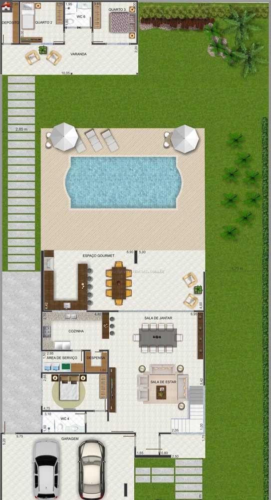 Esse projeto mostra que a casa não precisa ser grande para ser considerada moderna; a planta trouxe piscina, salas integradas, espaço gourmet e garagem interna