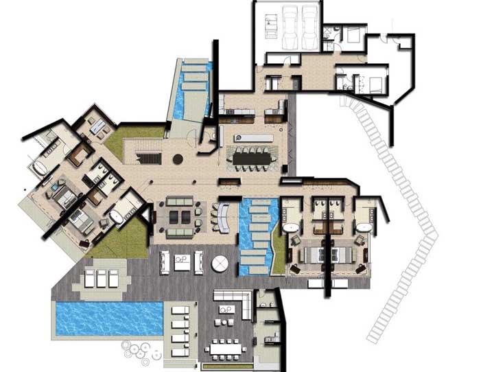 Um formato diferente para a planta da casa moderna, com piscina e lagos artificiais, quatro quartos e garagem interna