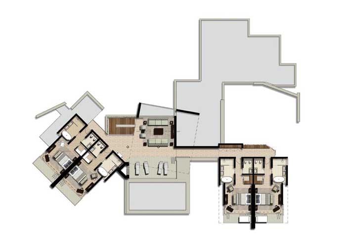 A parte superior conta com quatro quartos, piscina e deck particular