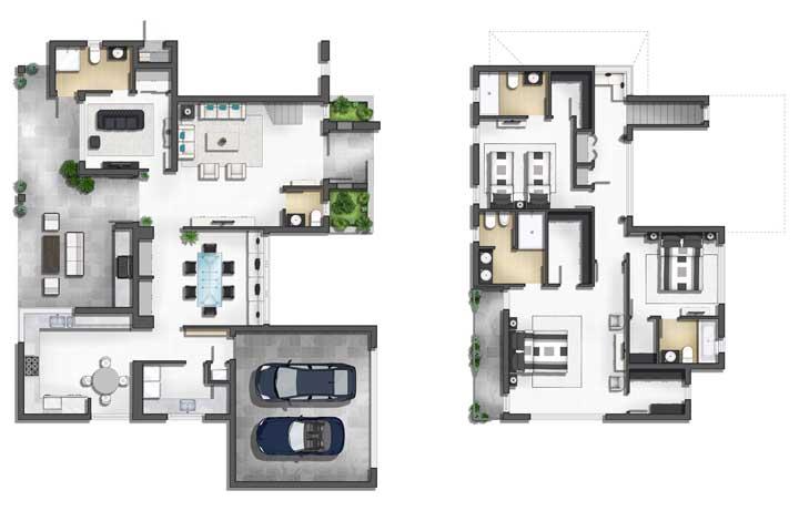 Planta com os dois pisos da casa moderna; destaque para o espaço gourmet, os dois quartos e a suíte máster