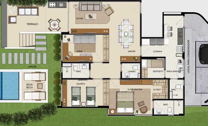 Este projeto traz uma casa moderna com terraço, salas integradas suíte máster e um quarto adicional