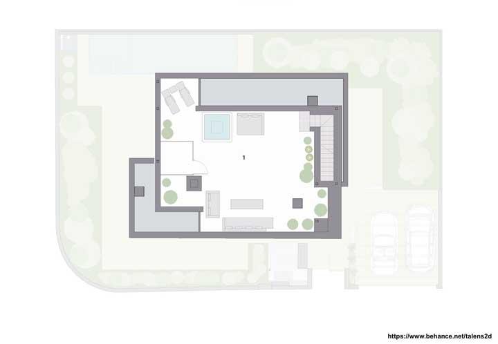 E no terraço, banheira e espaço social
