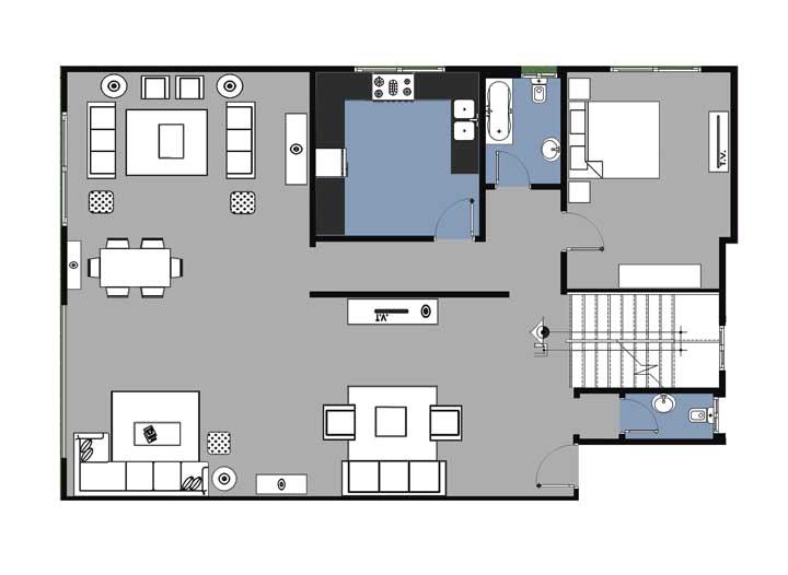 Planta de casa ampla e espaçosa com direito a quarto de visitas