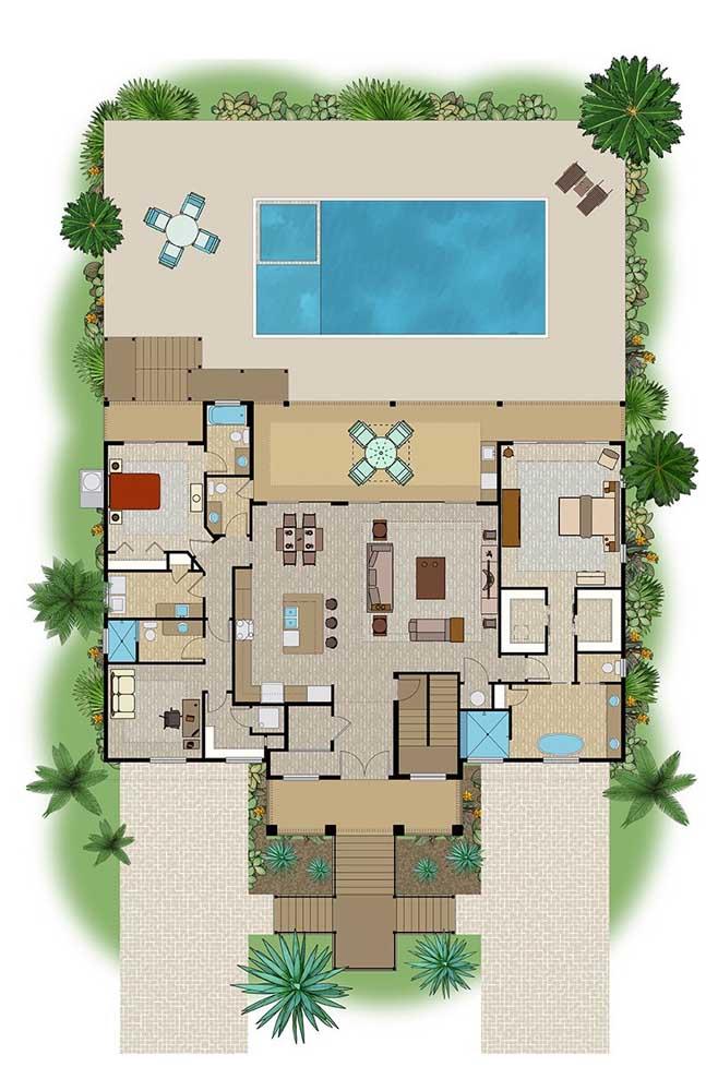 Planta de casa moderna com dois quartos, espaço gourmet e ambientes integrados; repare que a fachada é bem ampla