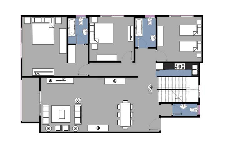 No andar superior, uma área particular, duas suítes e um quarto adicional