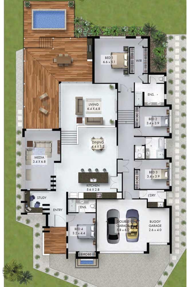 Planta de casa moderna e grande, com jardim lateral, living, cozinha integrada com sala de jantar, garagem interna e três quartos