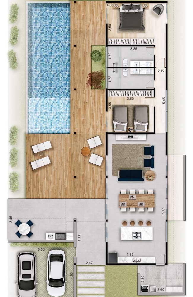 Projeto de casa térrea moderna, com piscina, deck, dois quartos e ambientes em conceito aberto