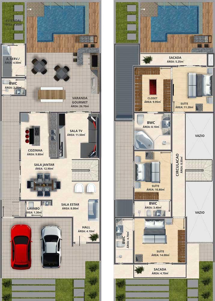 Planta de casa moderna de dois andares, com três quartos, sala de estar e sala de jantar integradas, piscina e varanda gourmet