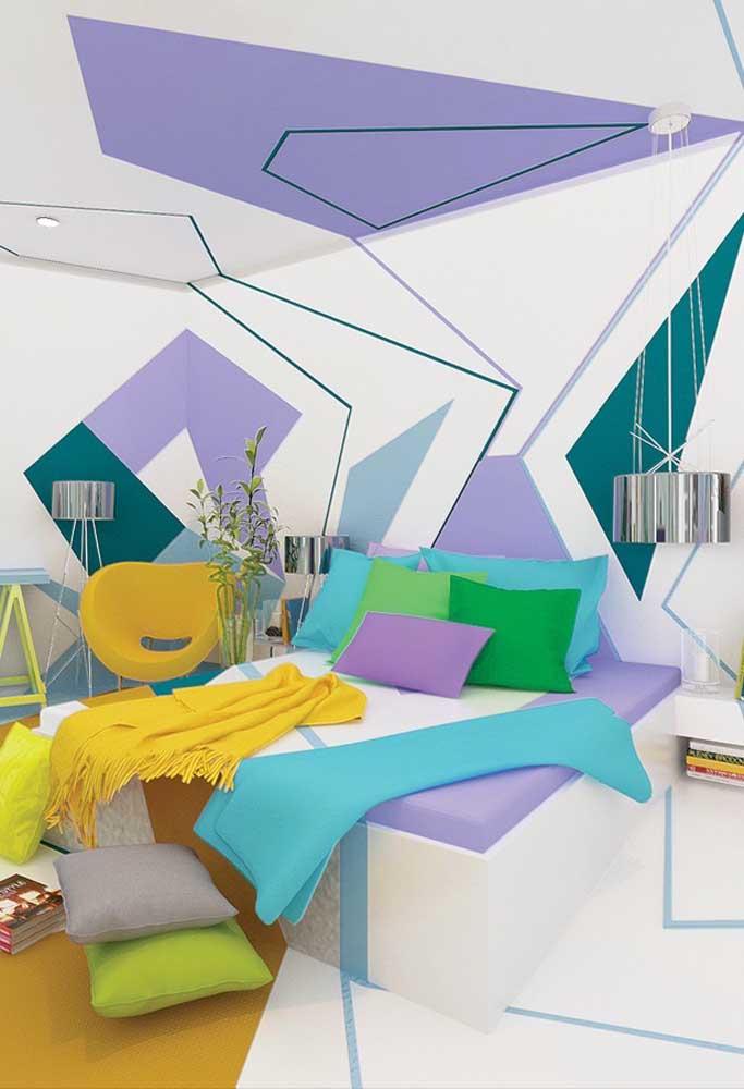 Você quer transformar seu quarto em um ambiente mais moderno? Aposte nos desenhos geométricos para decorar a parede.