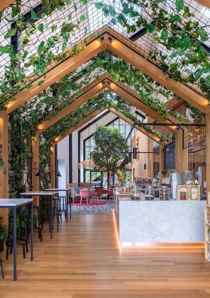 Nesse espaço amplo e bem iluminado, as treliças no teto conduzem as plantas trepadeiras