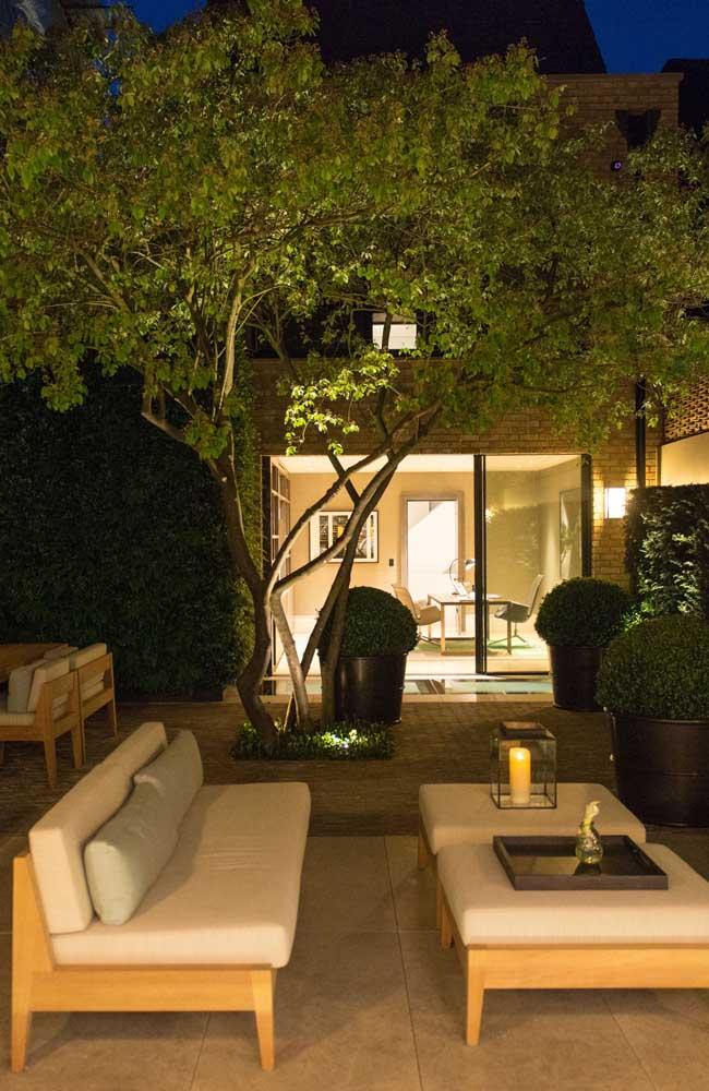 Jardim moderno com pequena árvore e móveis em tons claros revestidos em madeira
