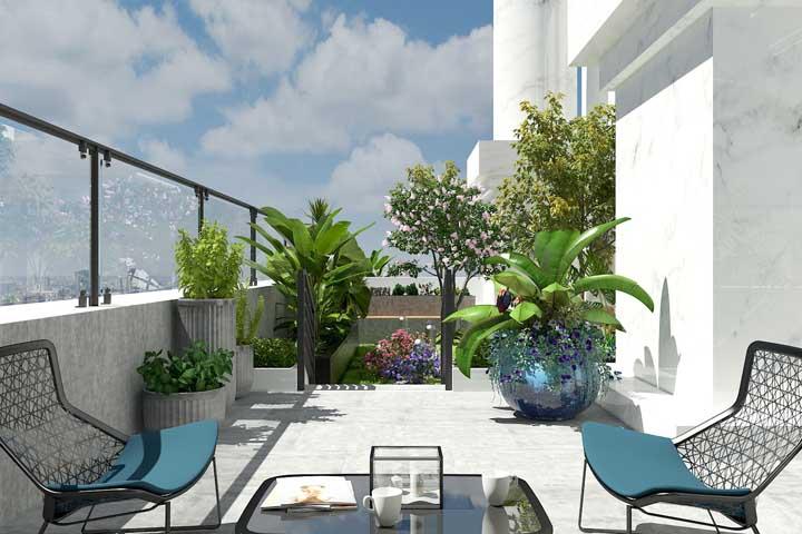 Jardim moderno no terraço da casa com vasos conceituais e móveis irreverentes