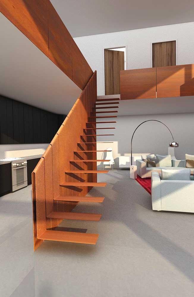 Uma escada cheia de estilo valorizada pelo uso do aço corten