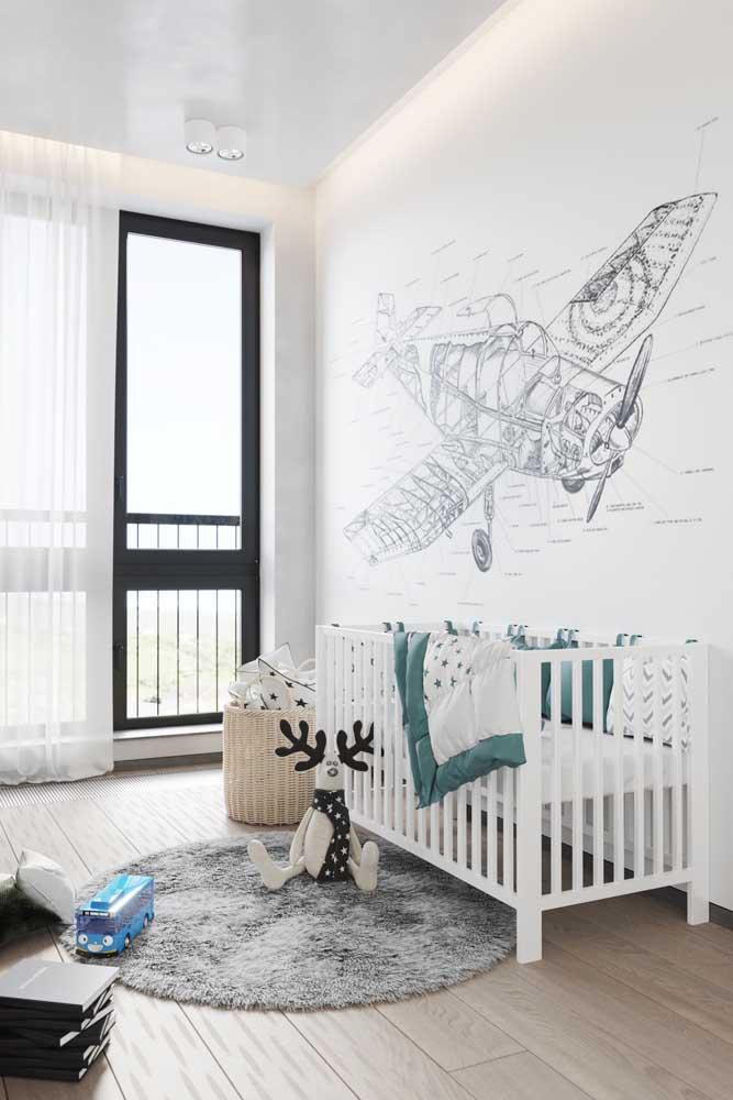 Proposta moderna para o quarto do bebê: paleta de cores branca, preta e cinza