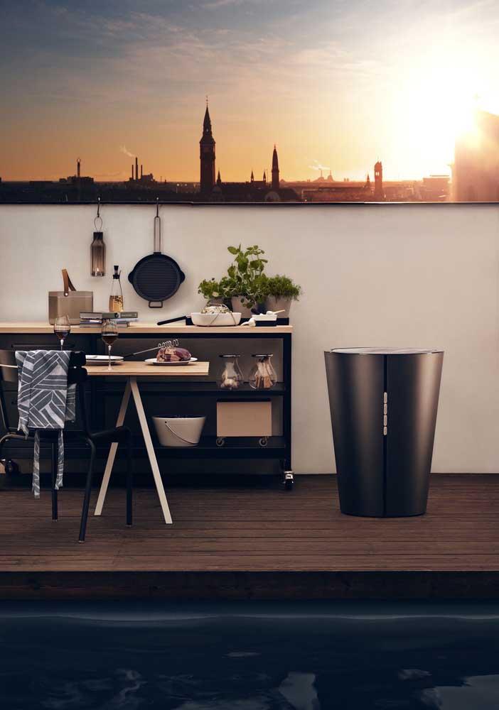 Churrasqueira elétrica moderna para o terraço gourmet do apartamento